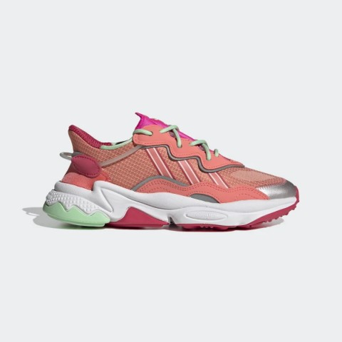Semi Flash Red/Power Pink/Glory Mint Adidas Originals Ozweego Women's Shoes FV9746